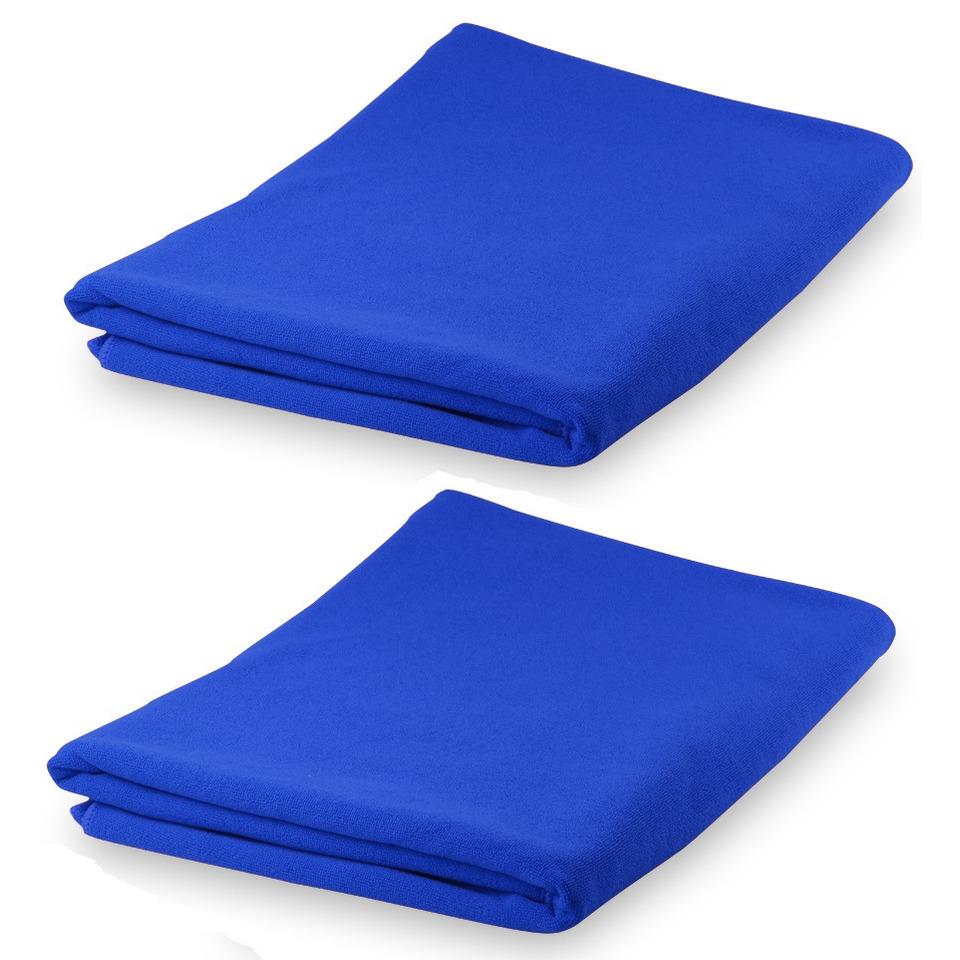 Set van 2x stuks yoga fitness handdoeken extra absorberend 150 x 75 cm blauw
