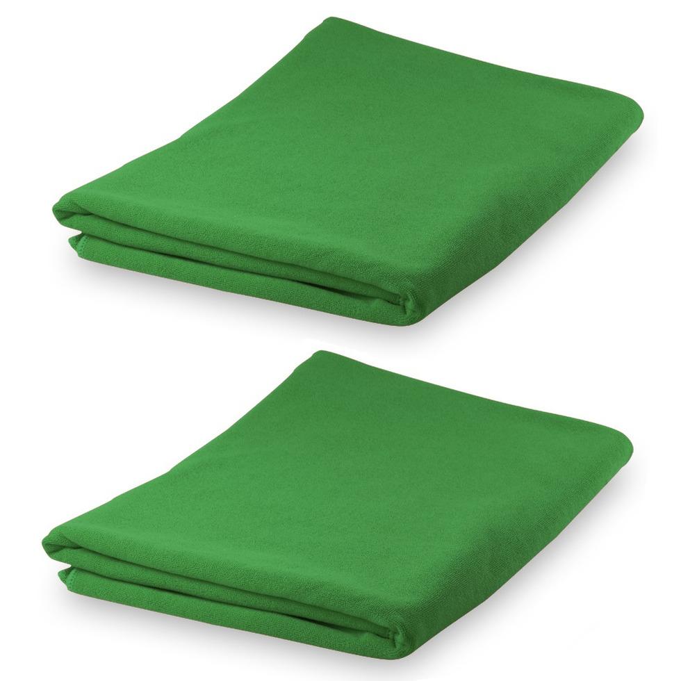 Set van 2x stuks yoga fitness handdoeken extra absorberend 150 x 75 cm groen