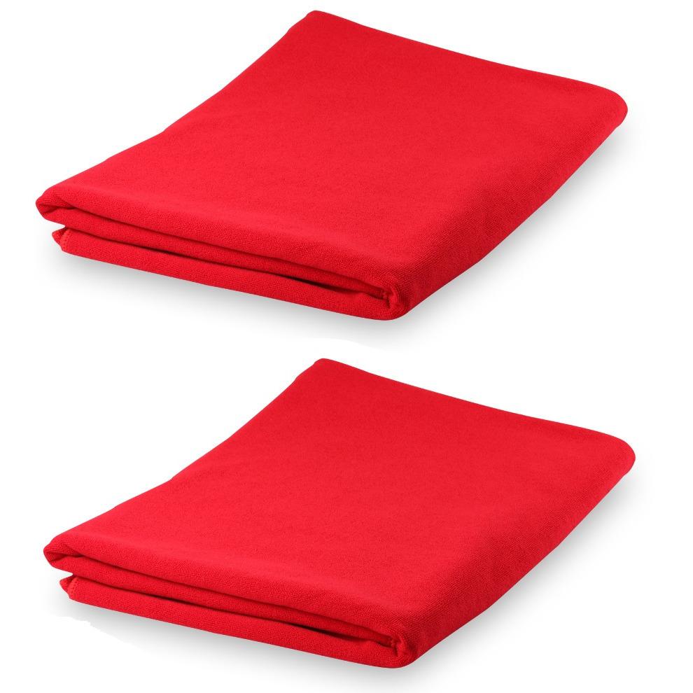 Set van 2x stuks yoga fitness handdoeken extra absorberend 150 x 75 cm rood