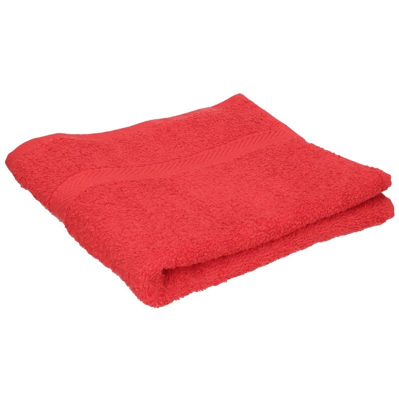 Set van 8x stuks luxe handdoeken rood 50 x 90 cm 550 grams