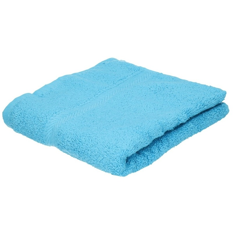 Set van 8x stuks luxe handdoeken turquoise 50 x 90 cm 550 grams
