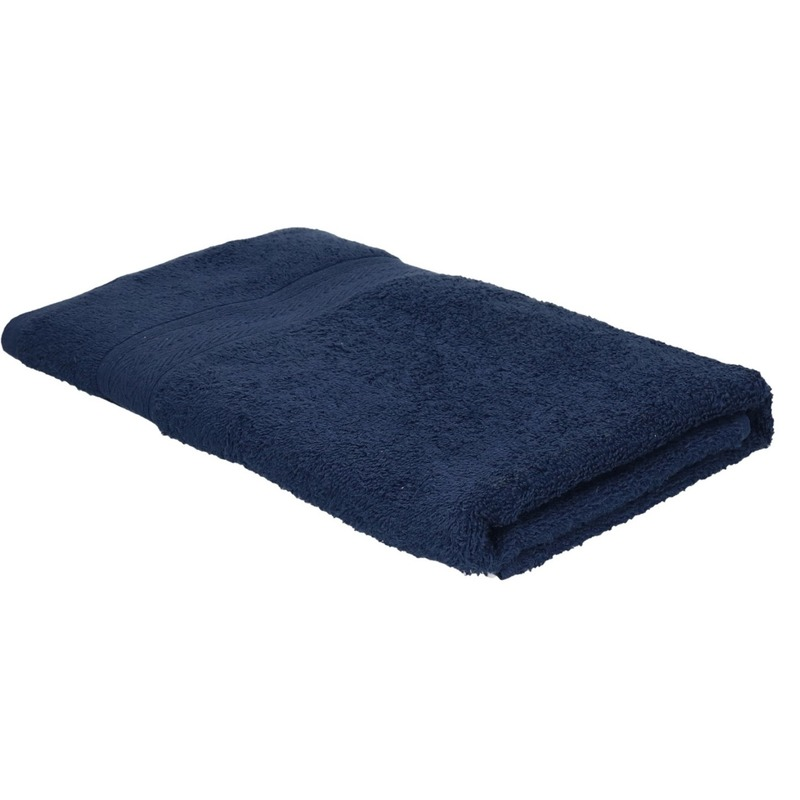 Voordelige badhanddoek navy blauw 70 x 140 cm 420 grams