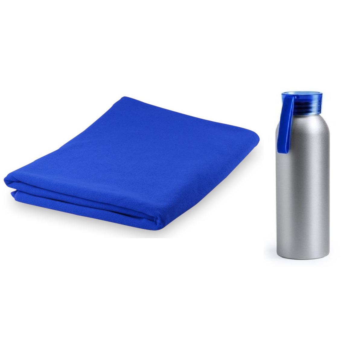 Yoga fitness set blauwe handdoek extra absorberend en bidon drinkfles