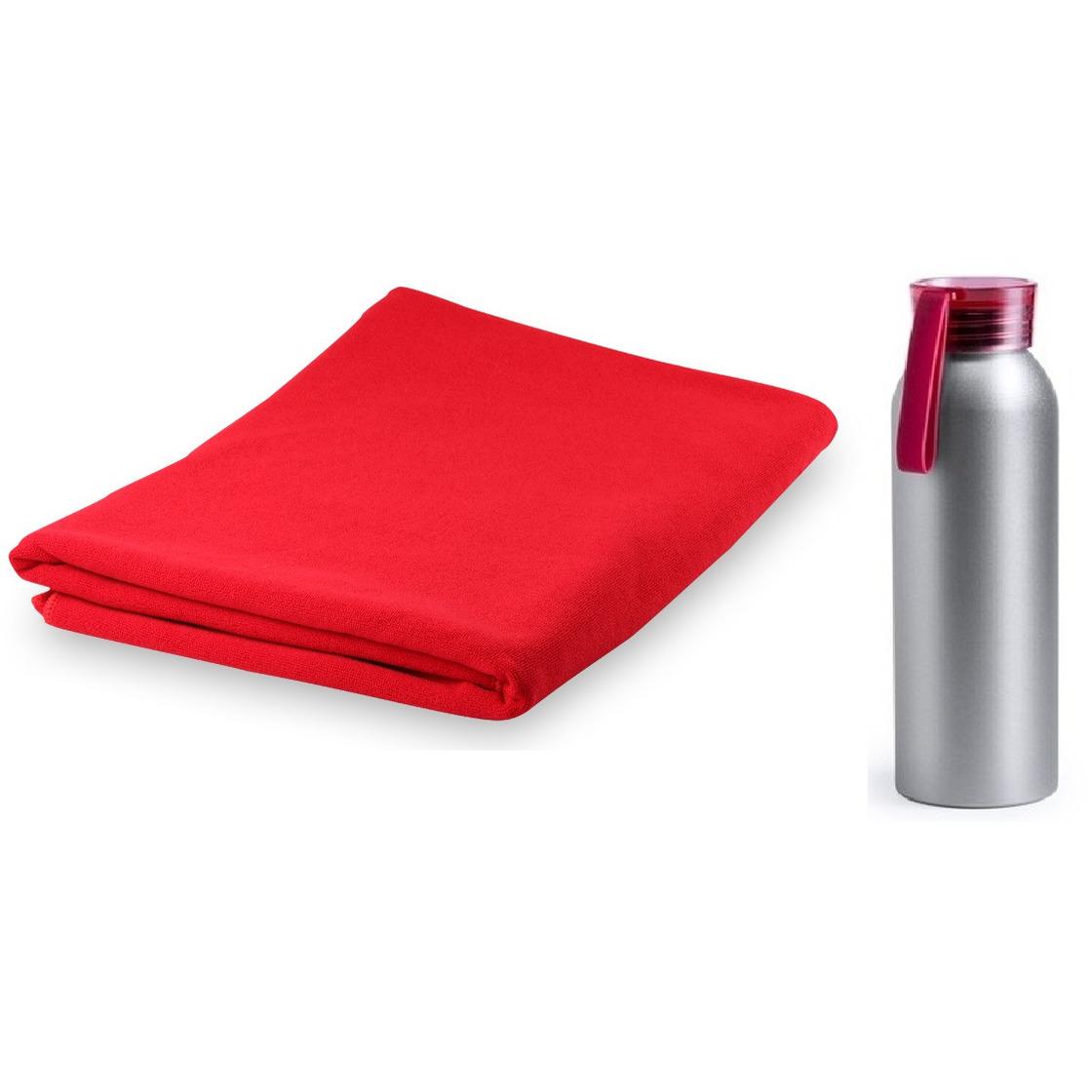 Yoga fitness set rode handdoek extra absorberend en bidon drinkfles